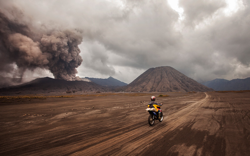 The sea of sands, with bromo erupting in the background
