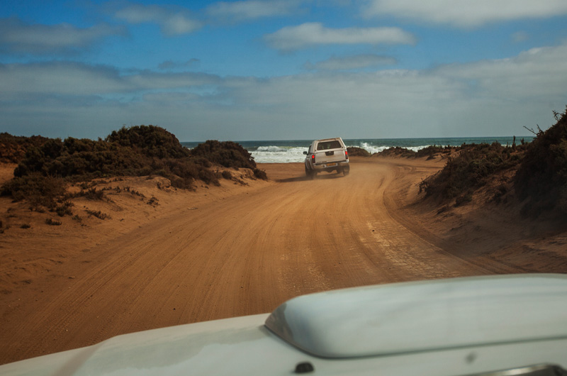 the dirt roads on the coast looking for the sunken ship