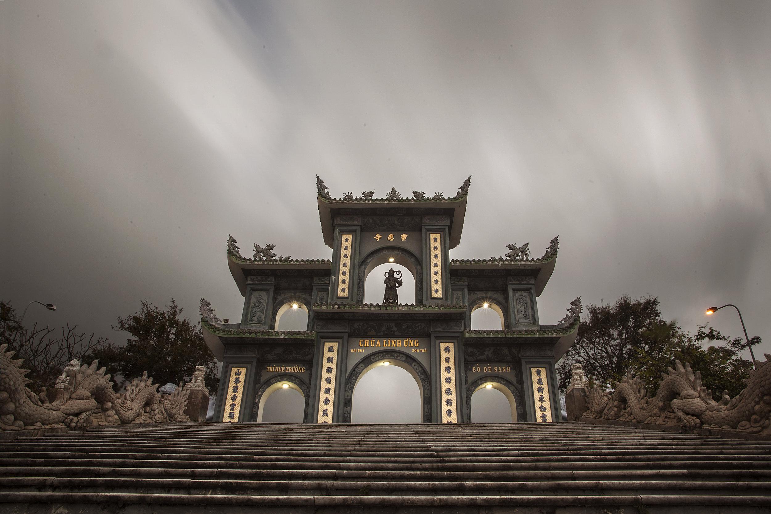 the main gate at dusk