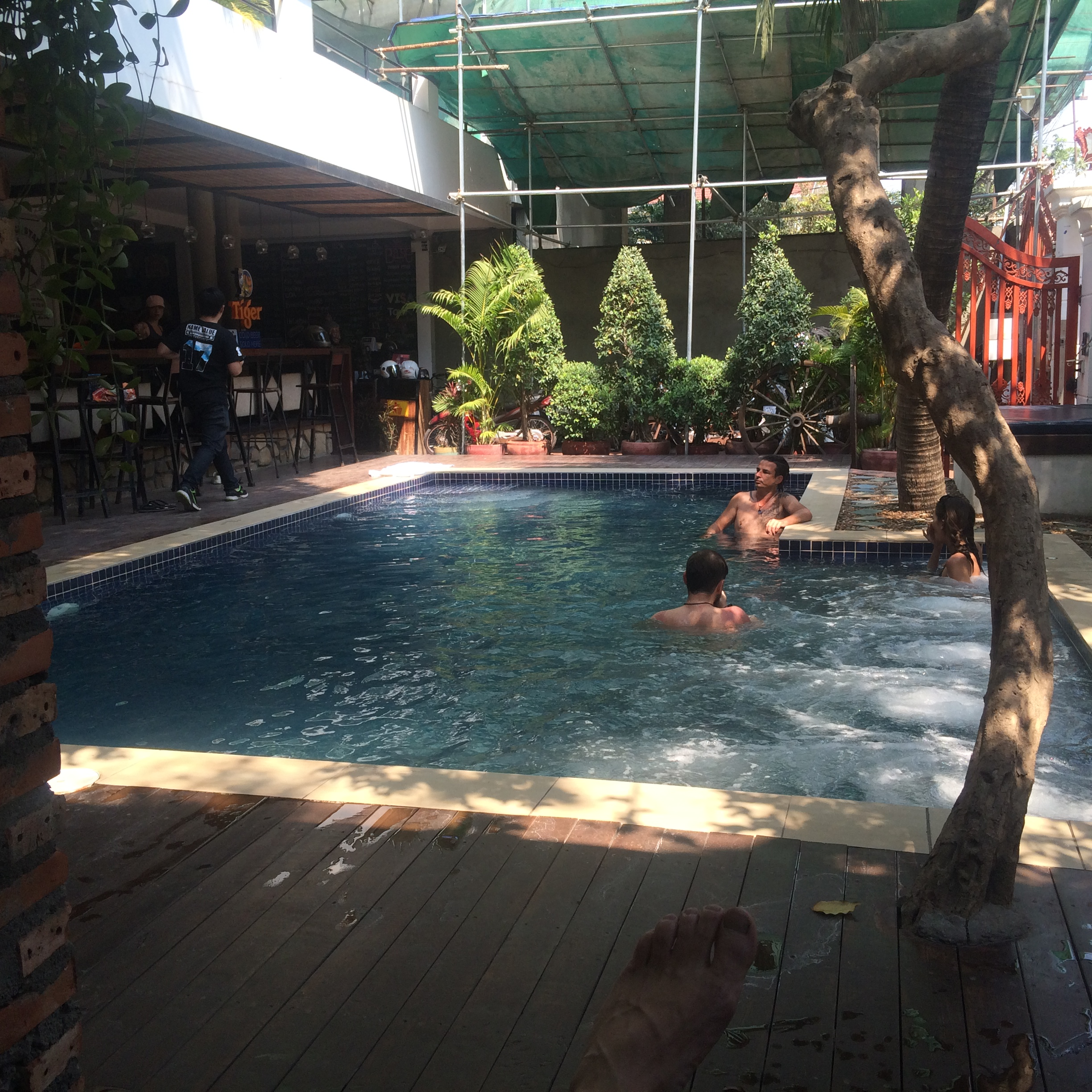 Hostel pool. Sadly it gets hardly any sun in the late afternoon