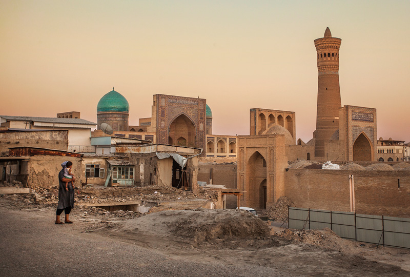 The view of the square from the crumbling Old Bukhara
