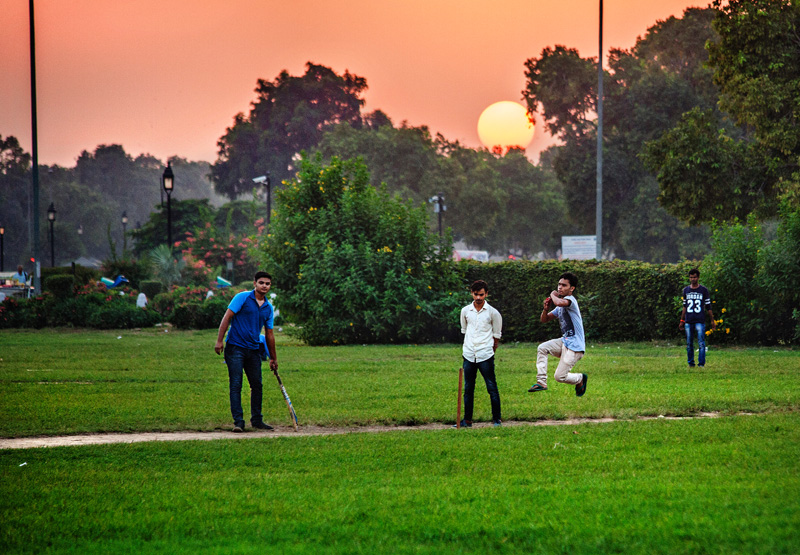 sun cricketeers around sunset