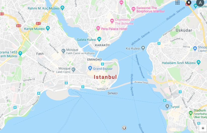 The straight that goes up and to the right is called the Bosporus, which connects to the Black Sea. I stayed in Karakoy neighborhood, which is that part in the center.