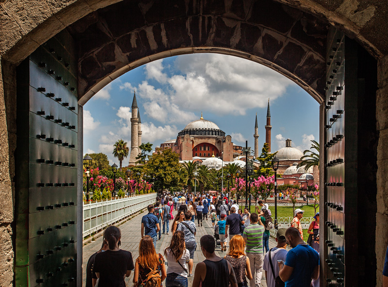 The walkway leading into the Hagia Sophia
