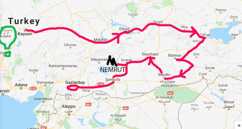 My convoluted, backtracking route through SE Turkey