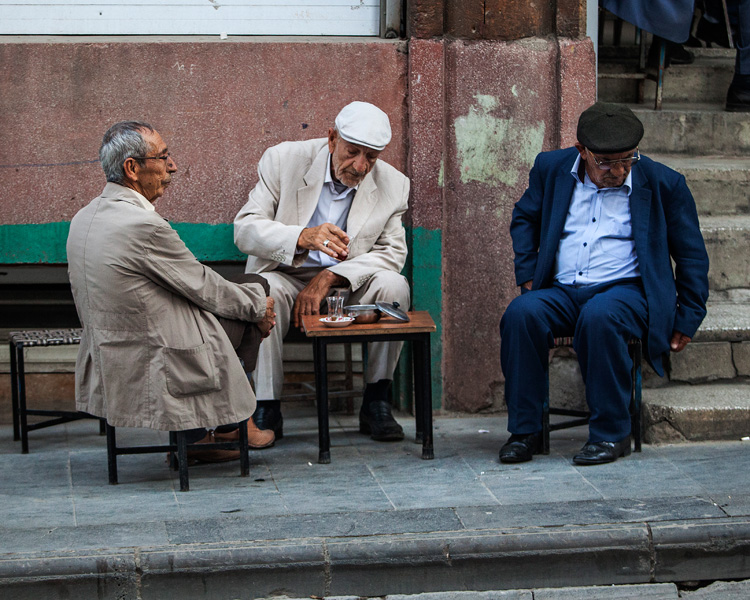 old guys drinking tea, a ubiquitous scene in Turkey