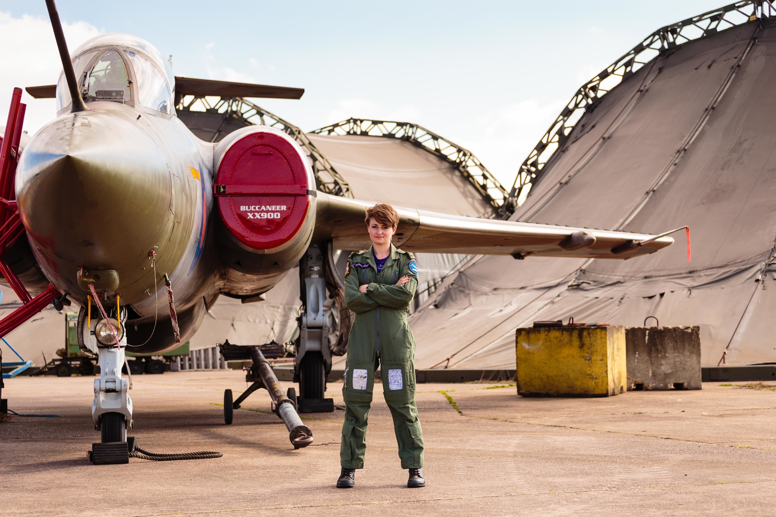 Claire Kelly with a Buccaneer jet