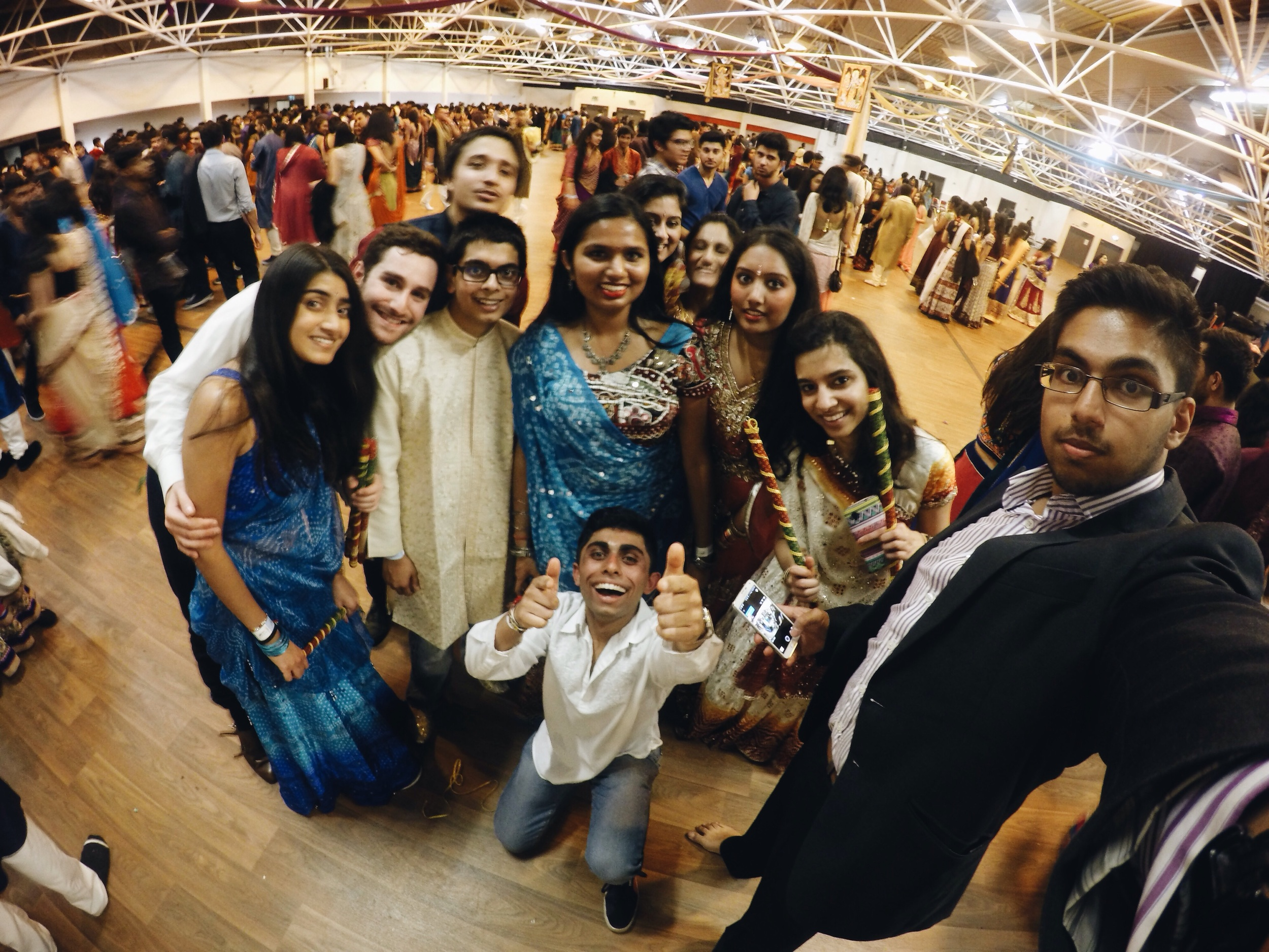 NHSF LZ Garba:  Photo of the RHUL Hindu Society taken with my GoPro at the end of the National Hindu Students Forum London Zone Garba.