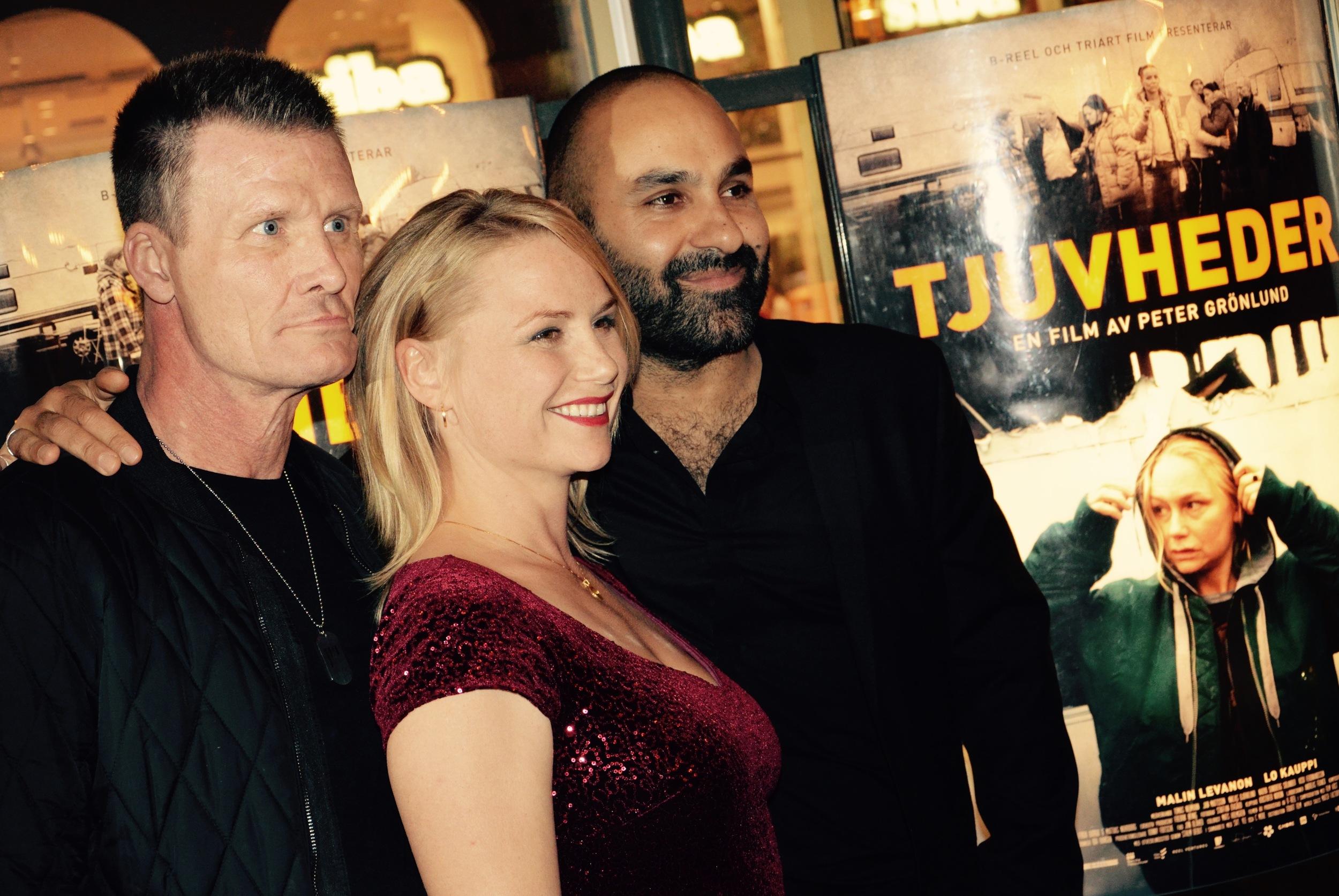 Jan Mattsson, Malin Levanon och Peter Grönlund på Tjuvheders galapremiär.  Drifters galapremiere 12 October 2015