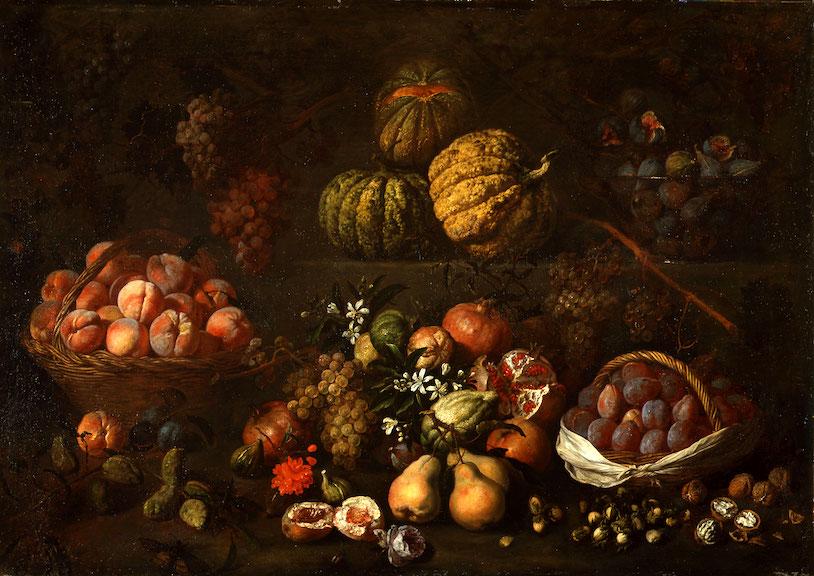 PIETRO PAOLO BONZI called GOBBO DEI CARRACCI   STILL LIFE WITH FRUITS ON TWO STONE STEPS