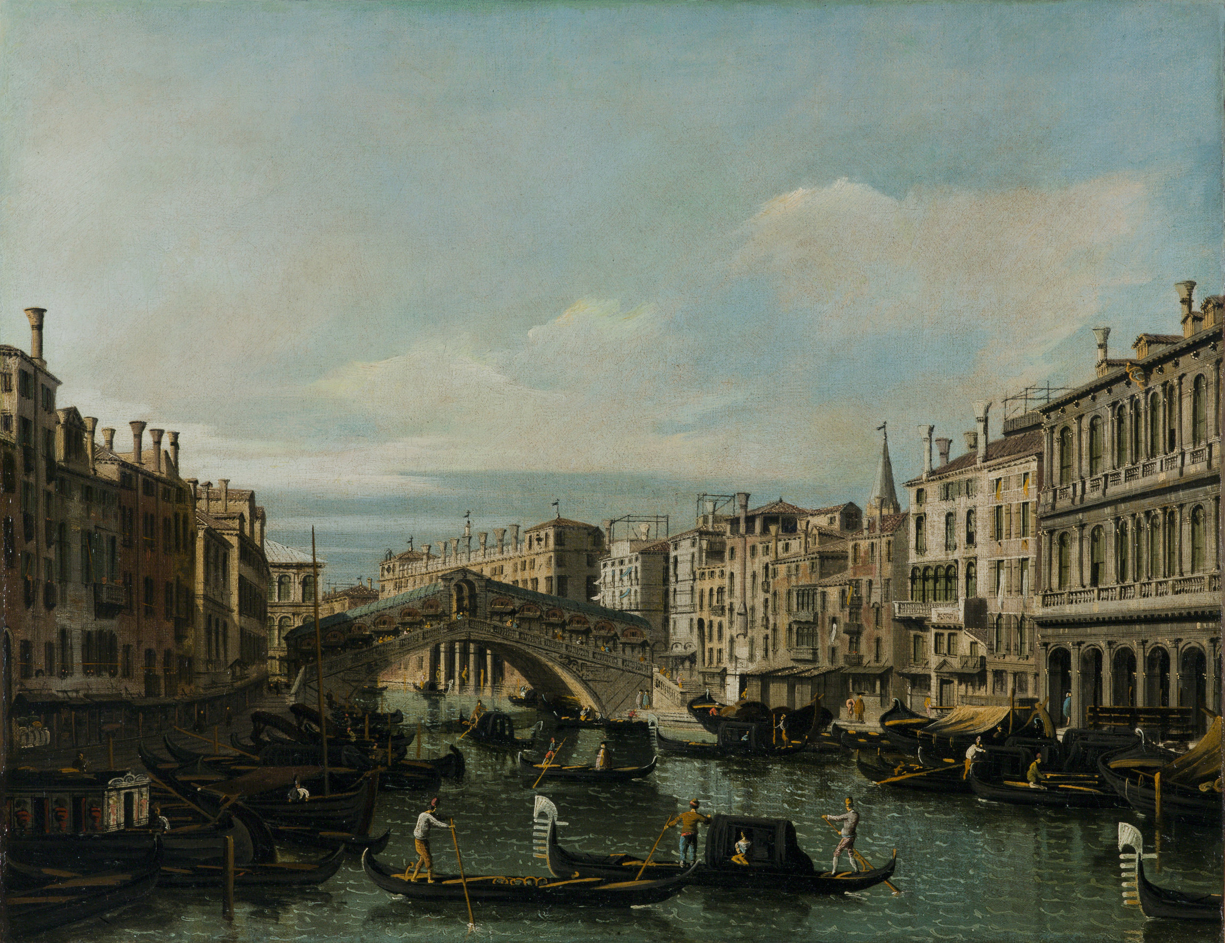 Bernardo Bellotto      (Venice 1720 – 1780 Warsaw)              The Rialto bridge seen from the South       Oil on canvas 60.5 x 77.5cm