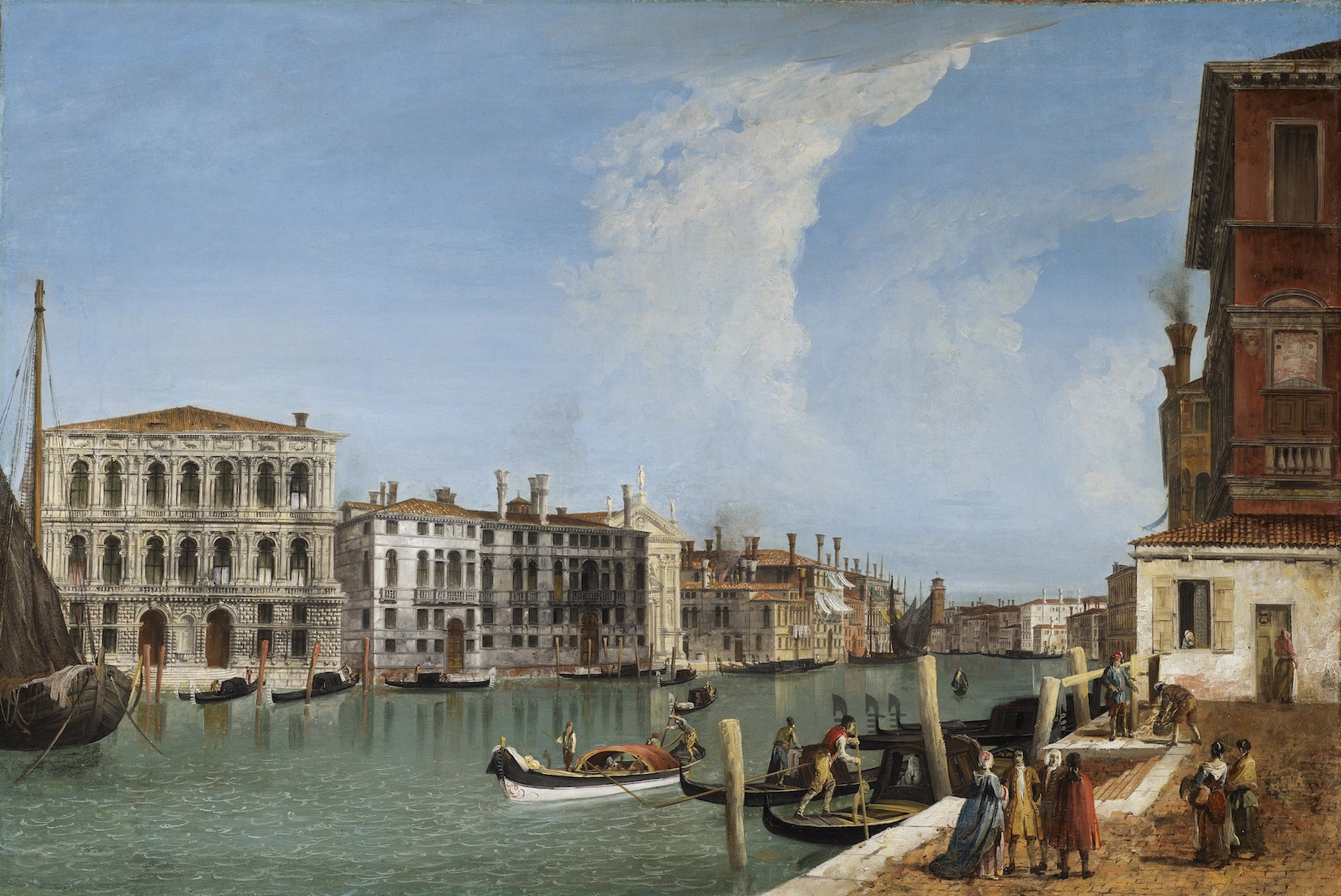 Michele Marieschi      (Venice 1710 - 1743)                The Grand Canal with Ca' Pesaro and Palazzo Foscarini-Giovannelli, from the Campiello of Palazzo Gussoni       Oil on canvas, 58 x 86 cm.