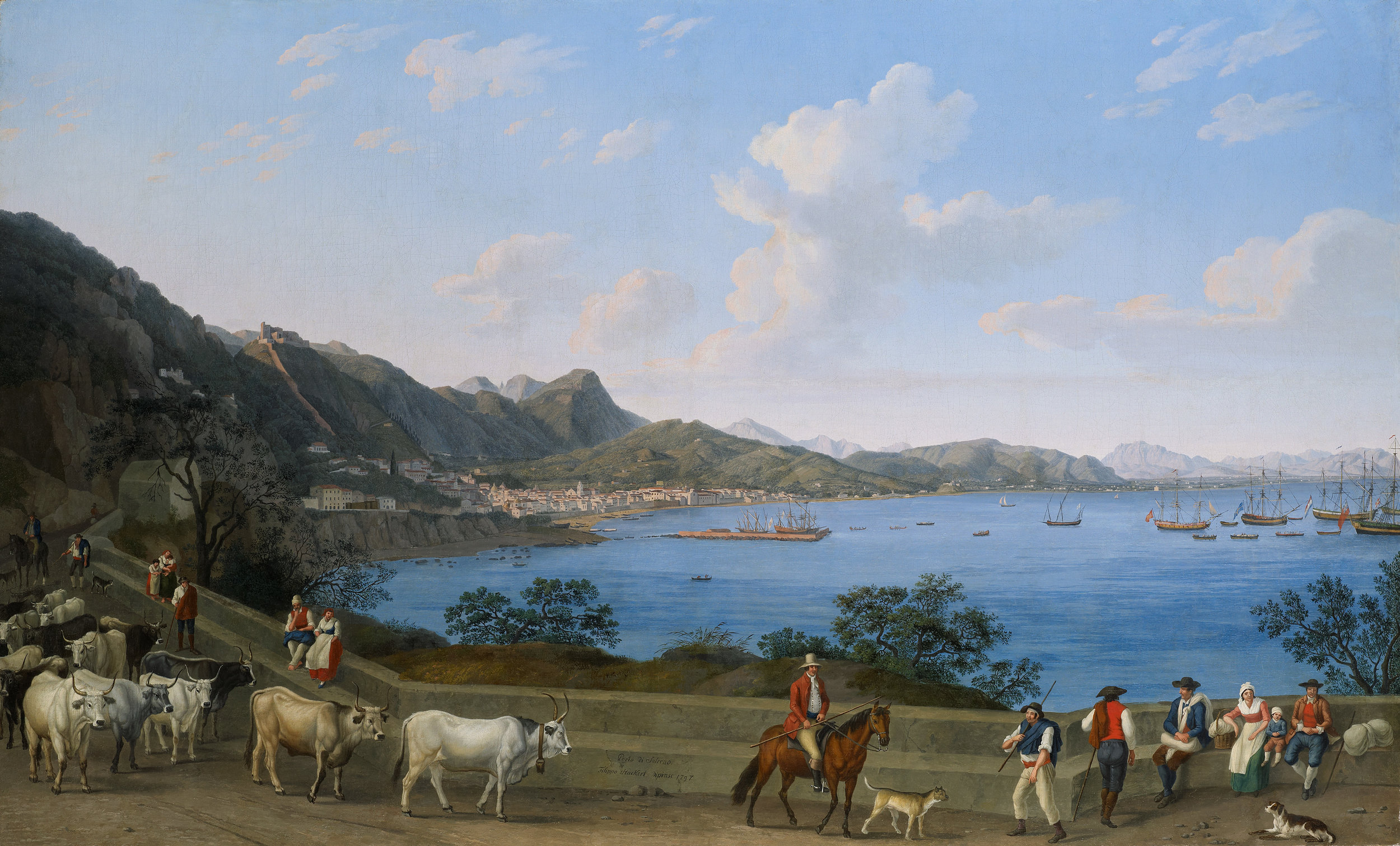 Jakob Philipp Hackert      (Prenzlau 1737 - 1807 San Pietro di Careggi)          The Port of Salerno from Vietri, with herdsmen and other figures in the foreground, with the Castello di Arechi beyond and shipping vessels in the bay       Oil on canvas 135.7 x 221.6 cm             Inscribed, signed and dated  Porto di Salerno / Filippo Hackert dipinse 1797  (lower centre)