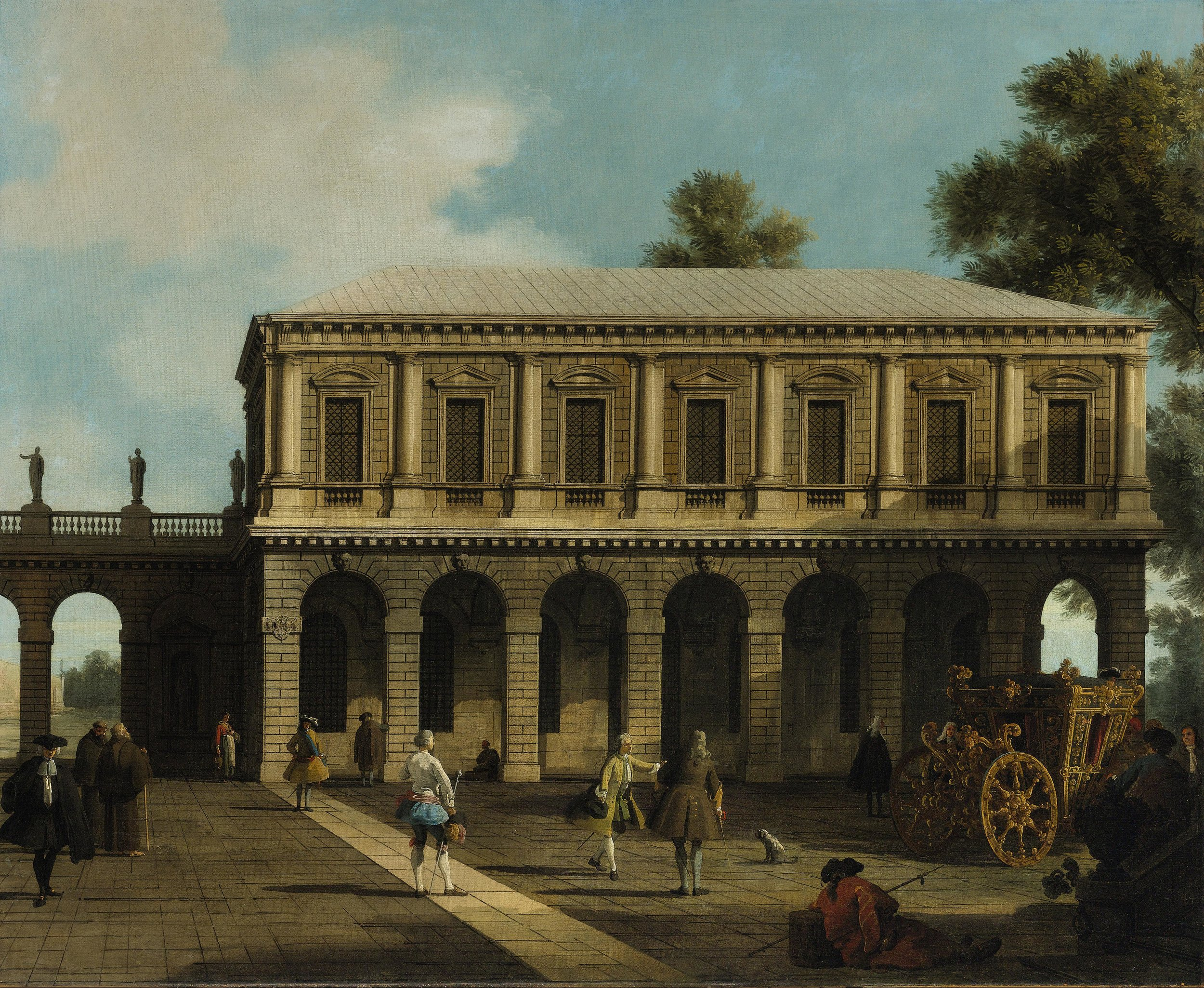 GIOVANNI ANTONIO CANAL, called CANALETTO     (Venice, 1697 – 1768) A Capriccio of the Prisons of San Marco Oil on canvas, 105.5 x 127.5 cm