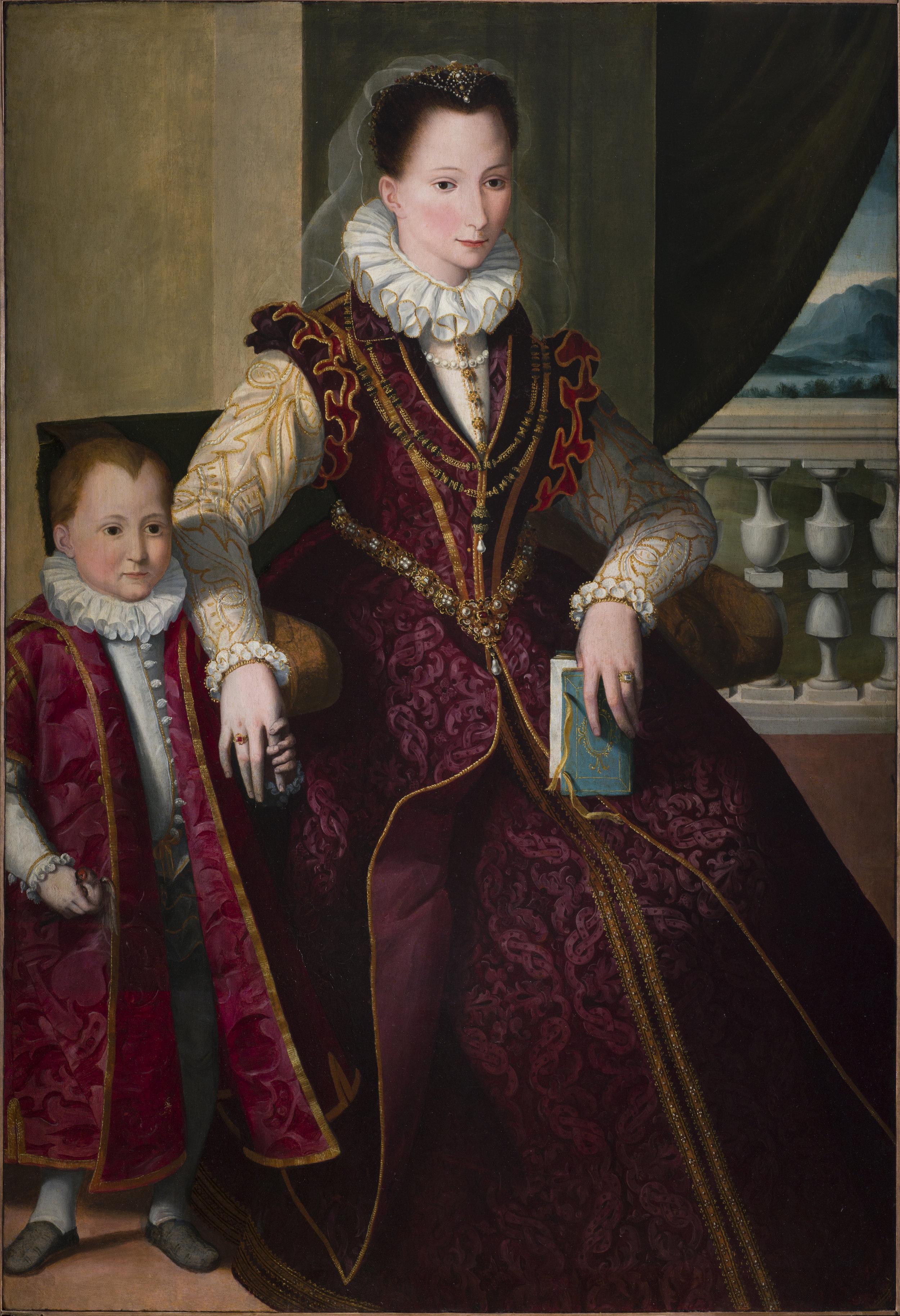 SANTI DI TITO   PORTRAIT OF A NOBLEWOMAN WITH A CHILD