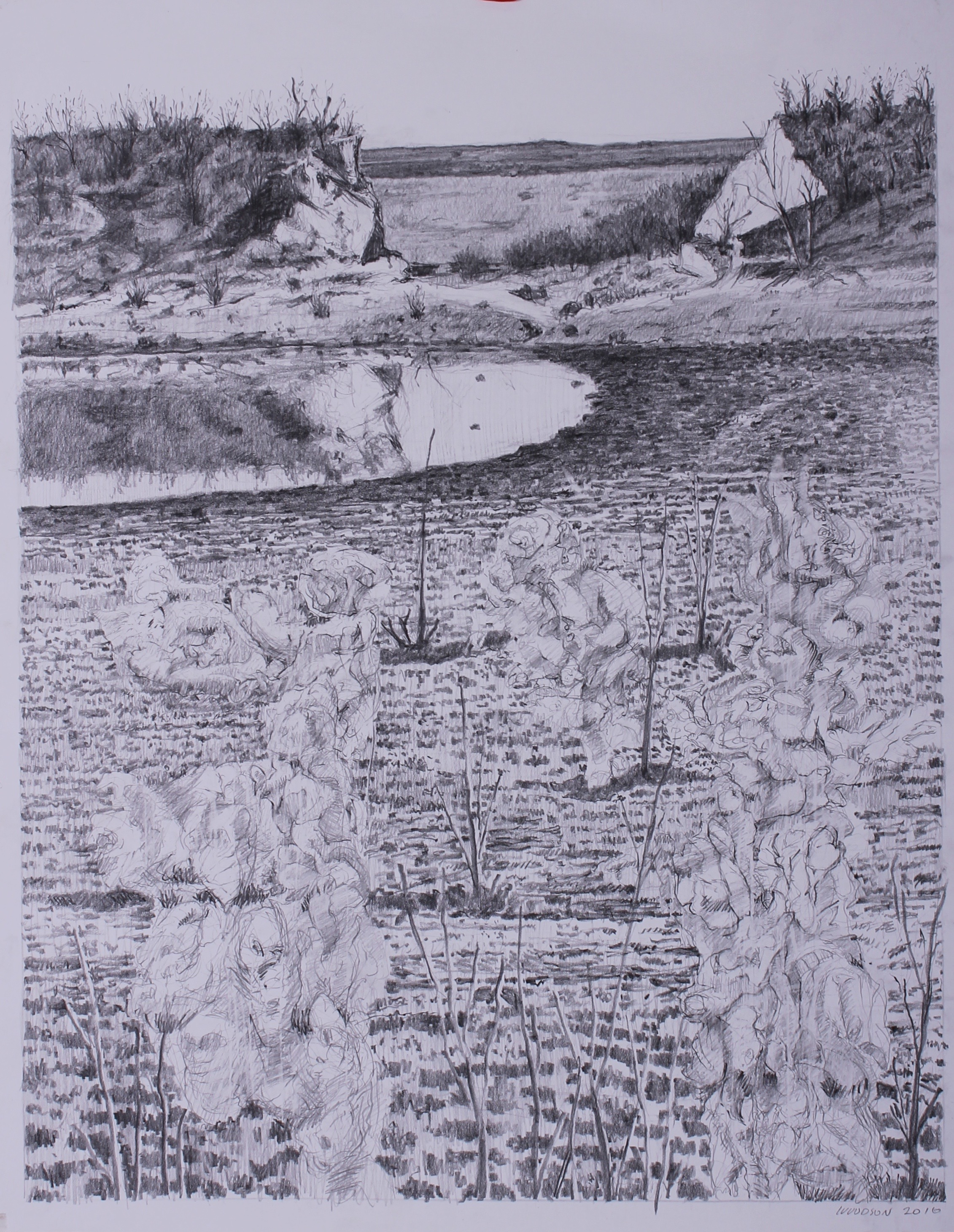 """Edwards Ranch Project Drawing A  2016 graphite on paper 24"""" x 19""""  cat no 16002A"""