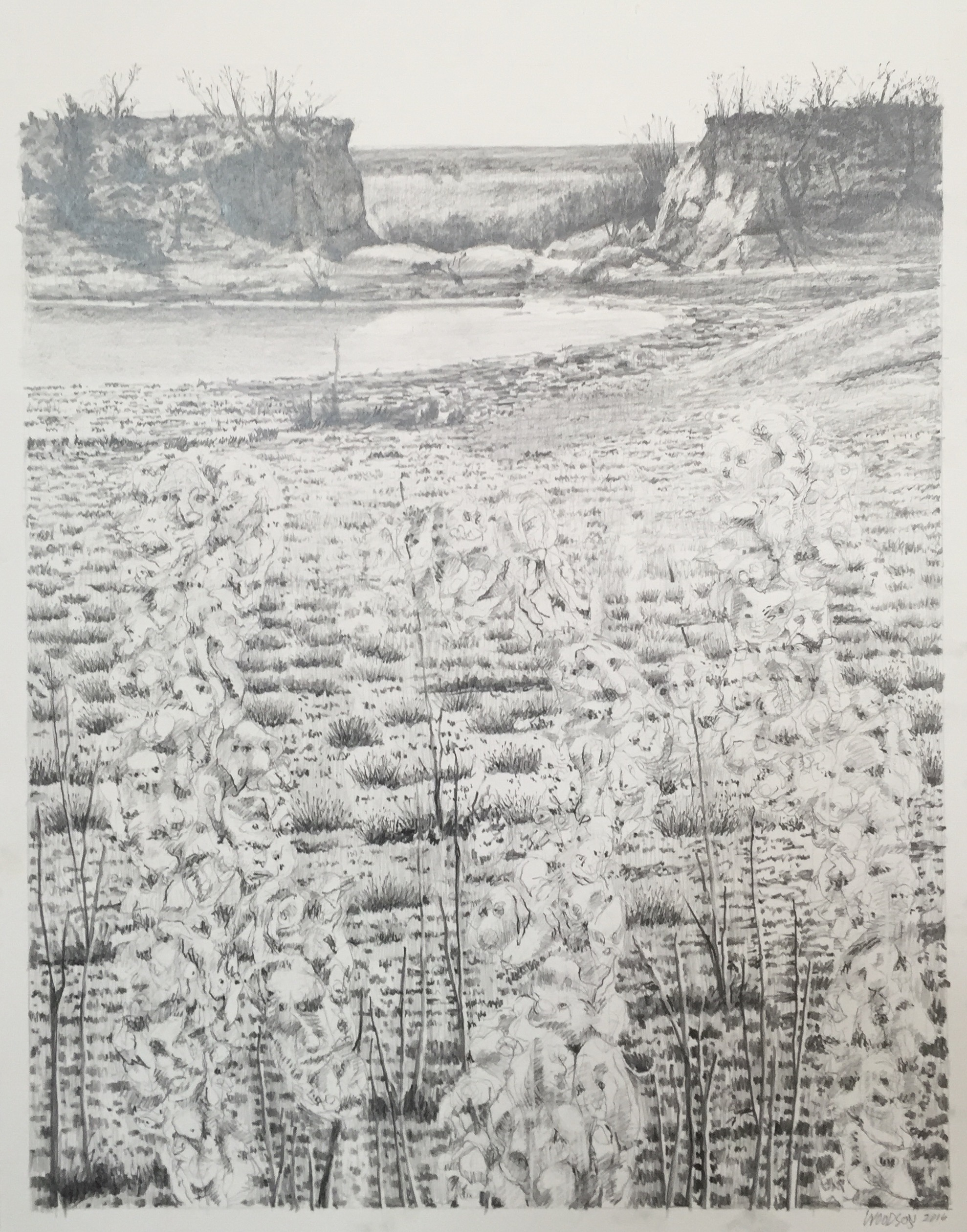 """Edwards Ranch Project Drawing 2016 graphite on paper  24"""" x 19"""" cat no 16002 C"""