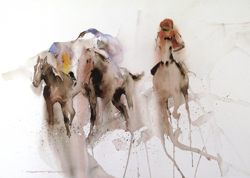 HOME STRAIGHT  Watercolour  360 x 465  NZ$ 250 plus P&P