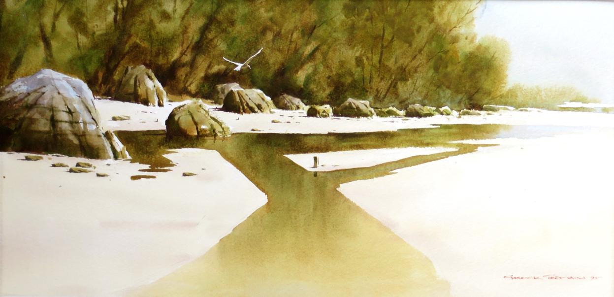 Mill Creek estuary, Stewart Island  Water colour  250mm x 510mm  SOLD