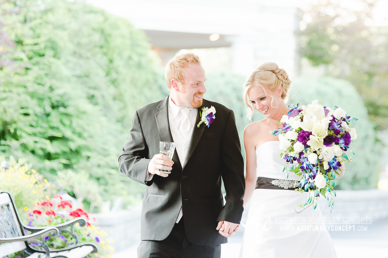 Buffalo Wedding Photography Klocs Grove 014 Bride Groom Reception Entrance Satin Wedding Dress Black Sash Blue and Purple Teardrop Bouquet.JPG
