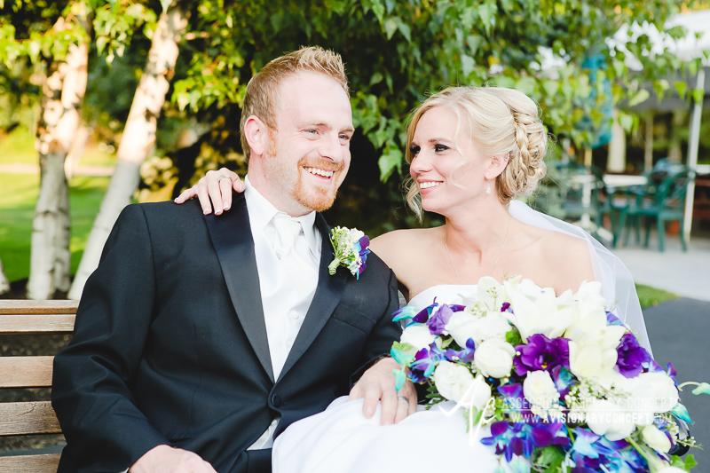 Buffalo Wedding Photography Klocs Grove 013 Bride and Groom Blue and Purple Teardrop Bouquet.JPG