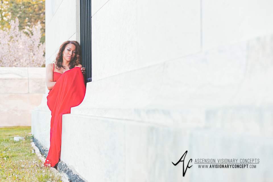 Buffalo Fashion Photography Buffalo Portrait Photography Spring Shoot Buffalo HIstory Museum 003 Flowy Red Dress African American Model.jpg