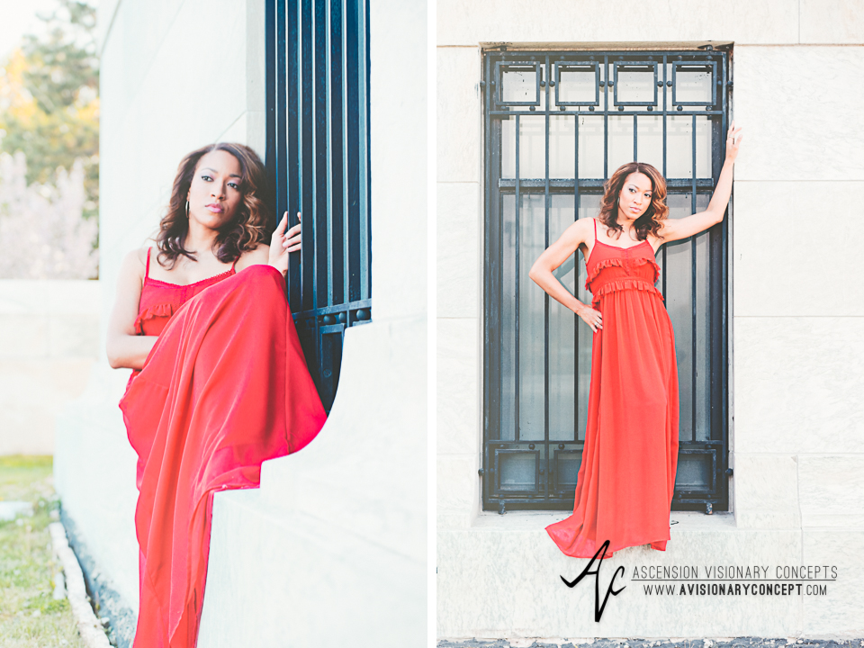 Buffalo Fashion Photography Buffalo Portrait Photography Spring Shoot Buffalo HIstory Museum 004 Flowy Red Dress African American Model.jpg