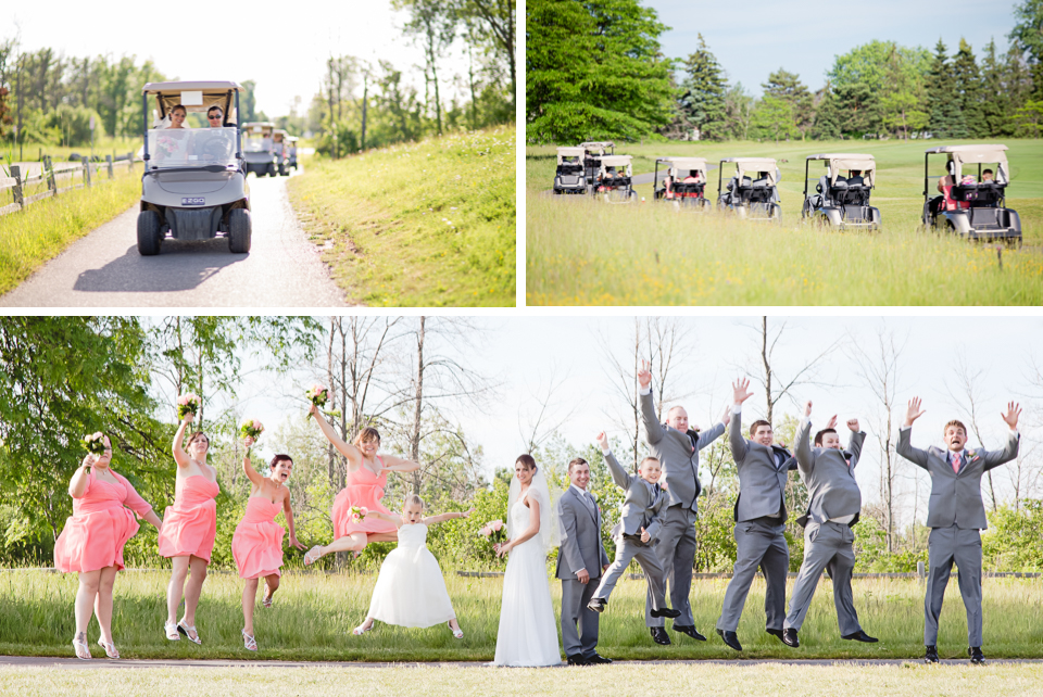 Buffalo Wedding Photography 13 Diamond Hawk Golf Course - Bride Groom Bridal Party Golf Carts Jump Fun Shot.jpg