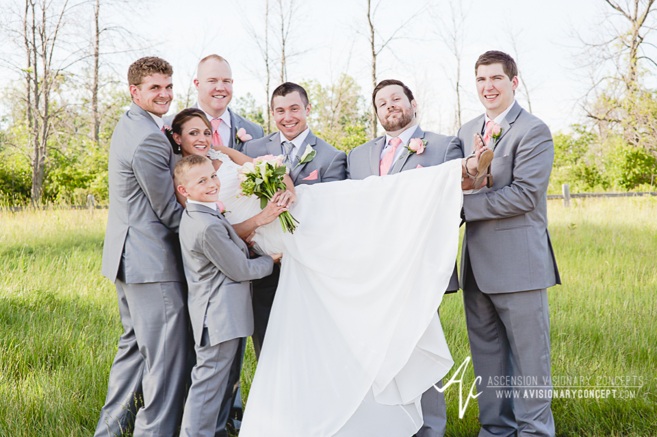 Buffalo Wedding Photography 16 Diamond Hawk Golf Course - Bride Groomsmen Fun Pose.jpg