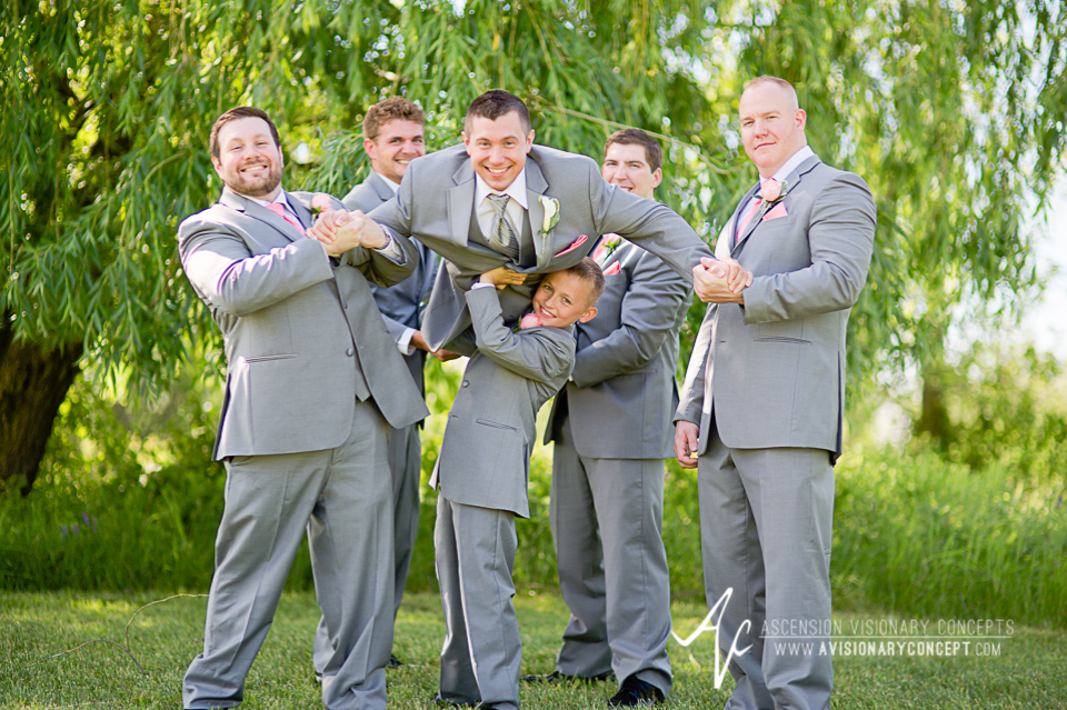 Buffalo Wedding Photography 20 Diamond Hawk Golf Course - Groom Groomsmen Ringbearer Fun Shot.jpg