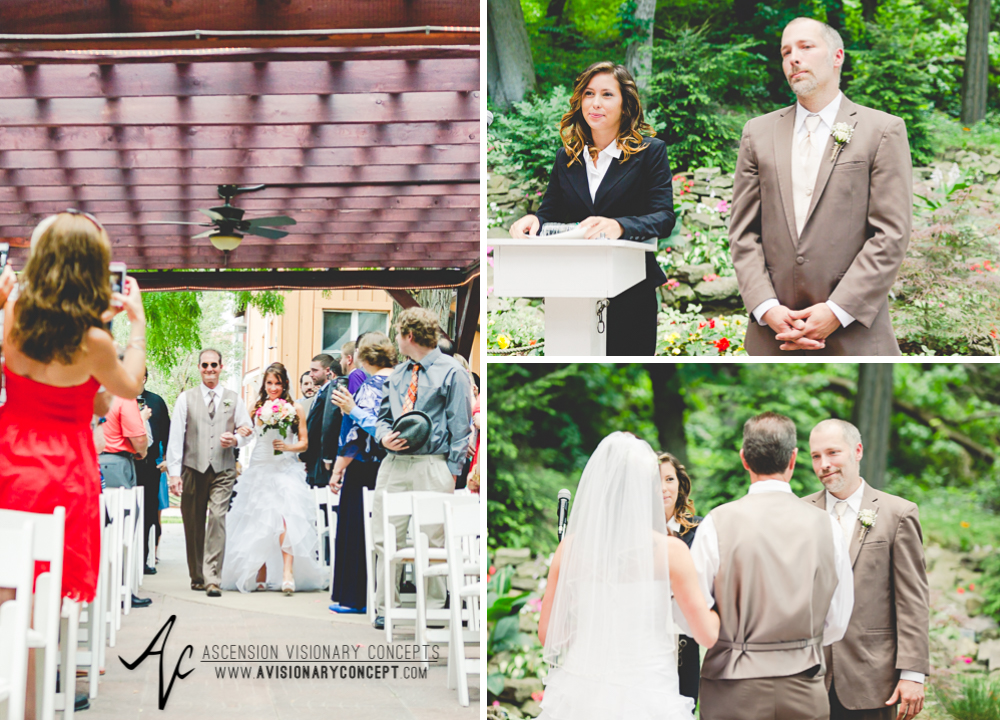Buffalo Wedding Photography Lockport Locks Wedding 14 - Canalside Grove Outdoor Pavilion Wedding Father Escorting Bride Down Aisle.jpg