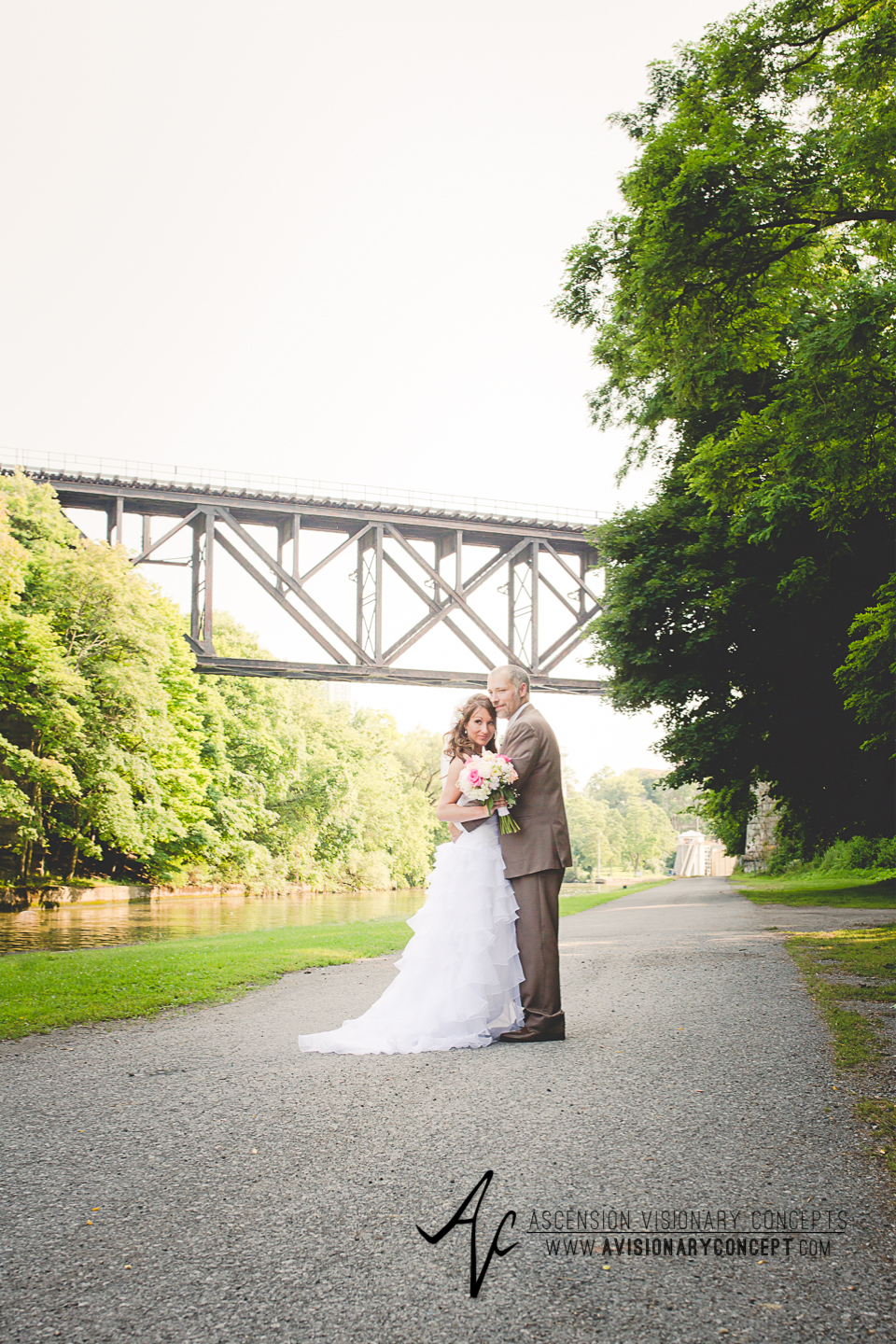 Buffalo Wedding Photography Lockport Locks Wedding 35 - Bride Groom Upson Park Upside Down Bridge.jpg