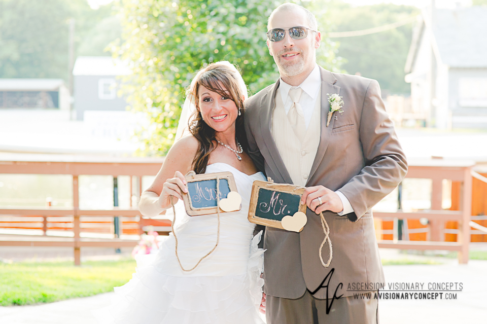 Buffalo Wedding Photography Lockport Locks Wedding 42 - Canalside Grove Outdoor Pavilion Wedding Reception Mr and Mrs Signs.jpg