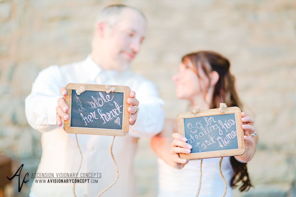 Buffalo Wedding Photography Lockport Locks Wedding 53 - Canalside Grove Outdoor Pavilion Bride Groom Stole Heart Stole Last Name Signs.jpg