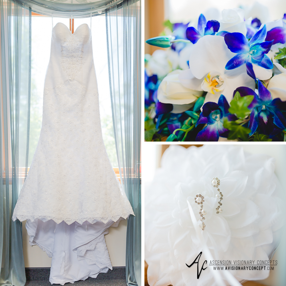 Rochester Wedding Photography Plantation Party House Spencerport Wedding 001 - Brides Gown Turquoise Purple Lily Bouquet.jpg