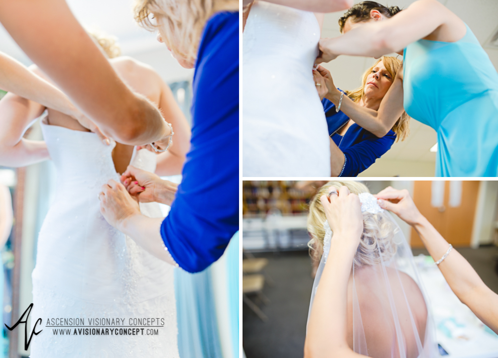 Rochester Wedding Photography Plantation Party House Spencerport Wedding 006 - Bride Getting Dressed Lace Edged Veil.jpg