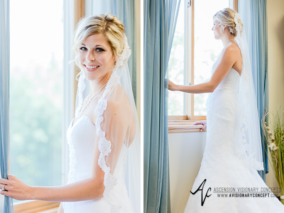 Rochester Wedding Photography Plantation Party House Spencerport Wedding 008 - Bride Getting Dressed Looking out Window Lace Edged Veil.jpg
