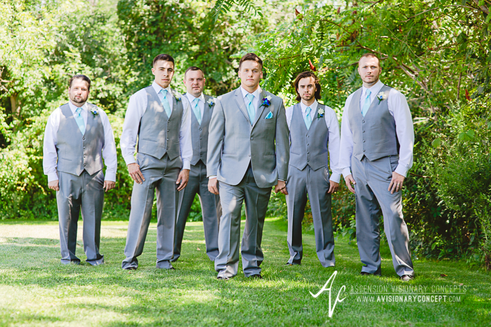 Rochester Wedding Photography Plantation Party House Spencerport Wedding 013 - Groom Groomsmen Grey Suit Turquoise Tie.jpg