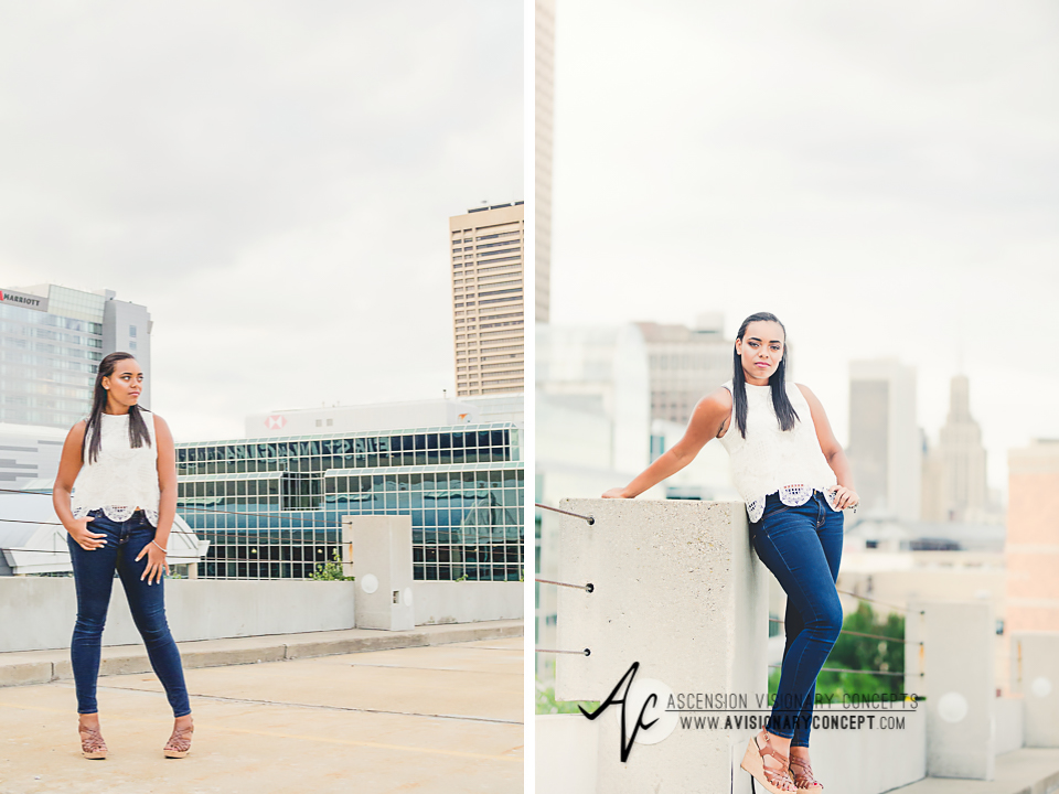 Buffalo Senior Photography Class of 2016 014 Downtown Buffalo Cobblestone District African American Teenage Girl Crochet Blouse Blue Jeans Hazel Eyes.jpg