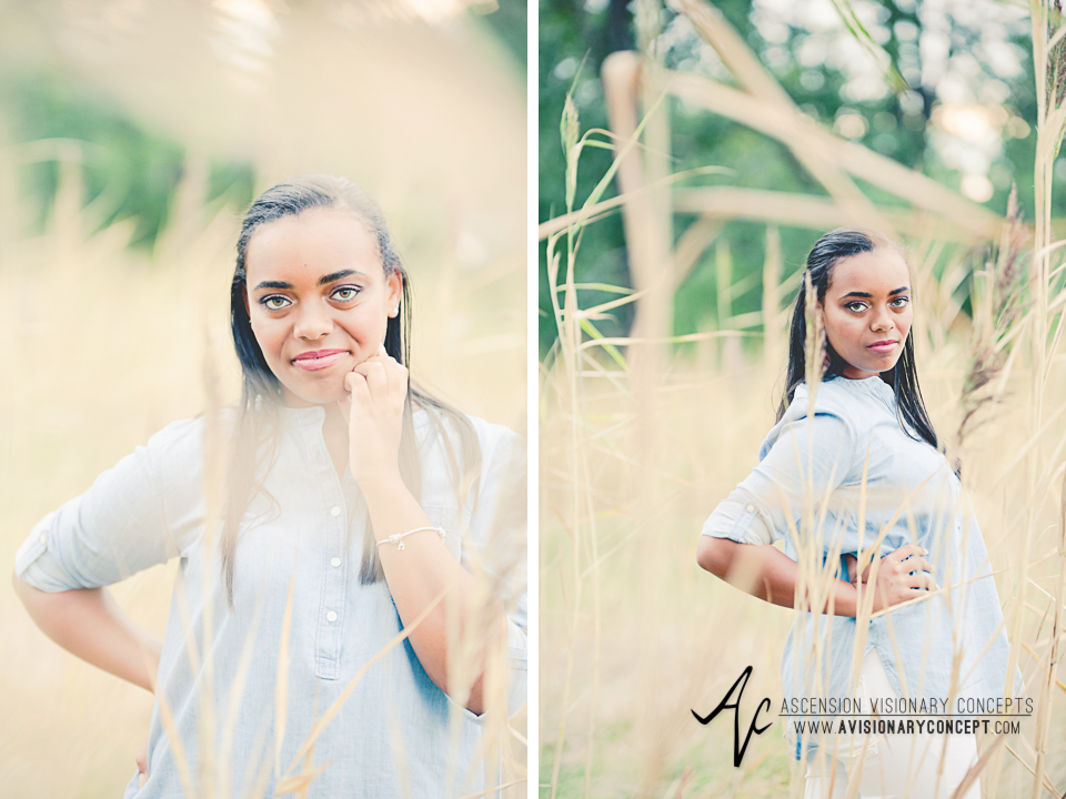 Buffalo Senior Photography Class of 2016 021 Tifft Nature Preserve Buffalo African American Teenage Girl Blue Denim Top White Jeans Hazel Eyes.jpg