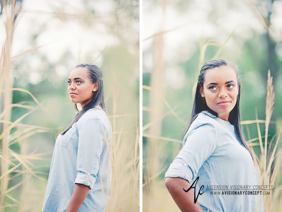 Buffalo Senior Photography Class of 2016 024 Tifft Nature Preserve Buffalo African American Teenage Girl Blue Denim Top White Jeans Hazel Eyes.jpg