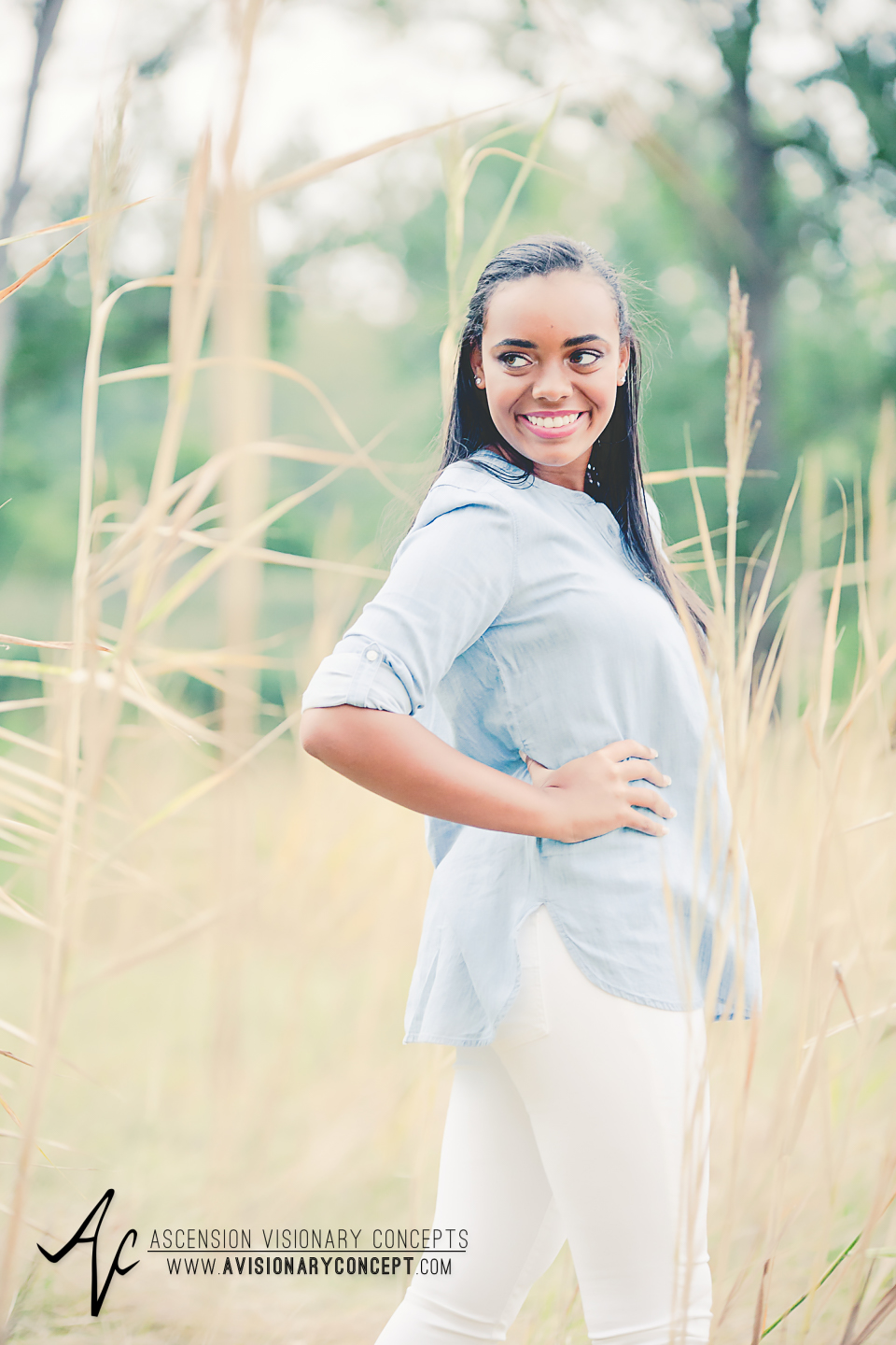Buffalo Senior Photography Class of 2016 023 Tifft Nature Preserve Buffalo African American Teenage Girl Blue Denim Top White Jeans Hazel Eyes.jpg