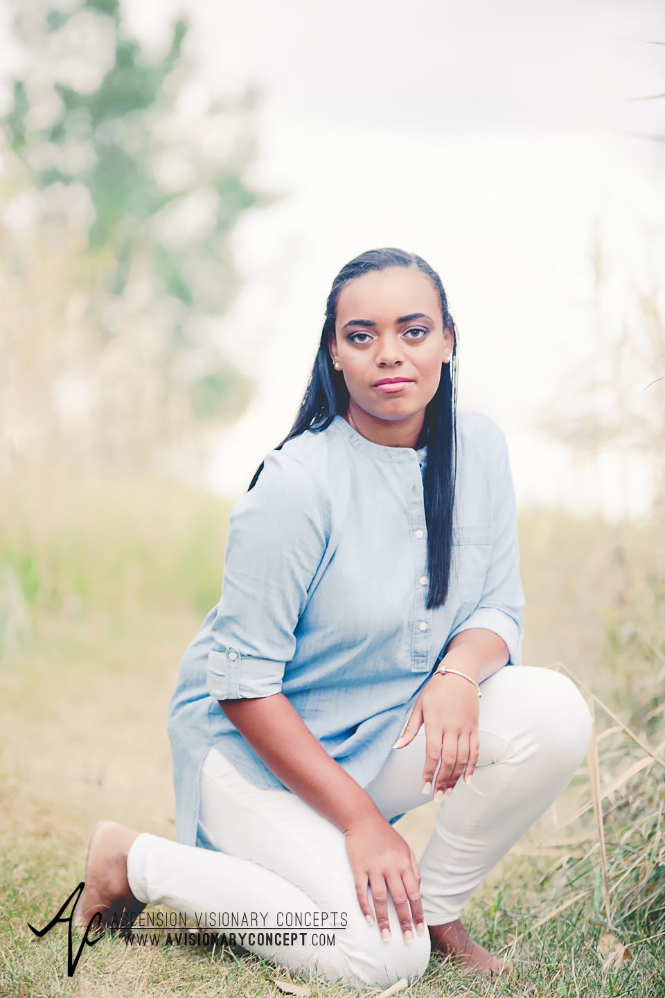 Buffalo Senior Photography Class of 2016 026 Tifft Nature Preserve Buffalo African American Teenage Girl Blue Denim Top White Jeans Hazel Eyes.jpg
