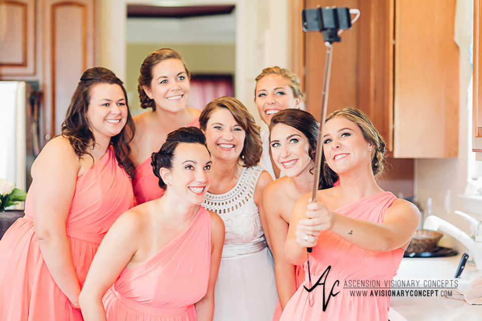 Buffalo Wedding Photography Orchard Park Country Club 008 - Bride Getting Ready Bridal Party Selfie Stick.jpg