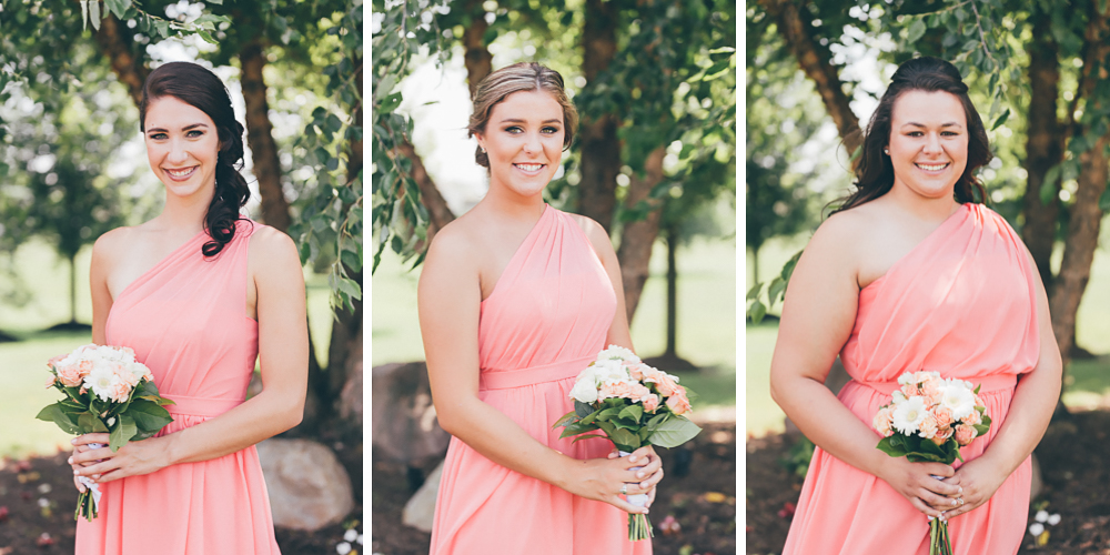 Buffalo Wedding Photography Orchard Park Country Club 021 - Bridesmaids Alfred Angelo Pink One-Shoulder Dresses White and Pink Rose Bouquet.jpg