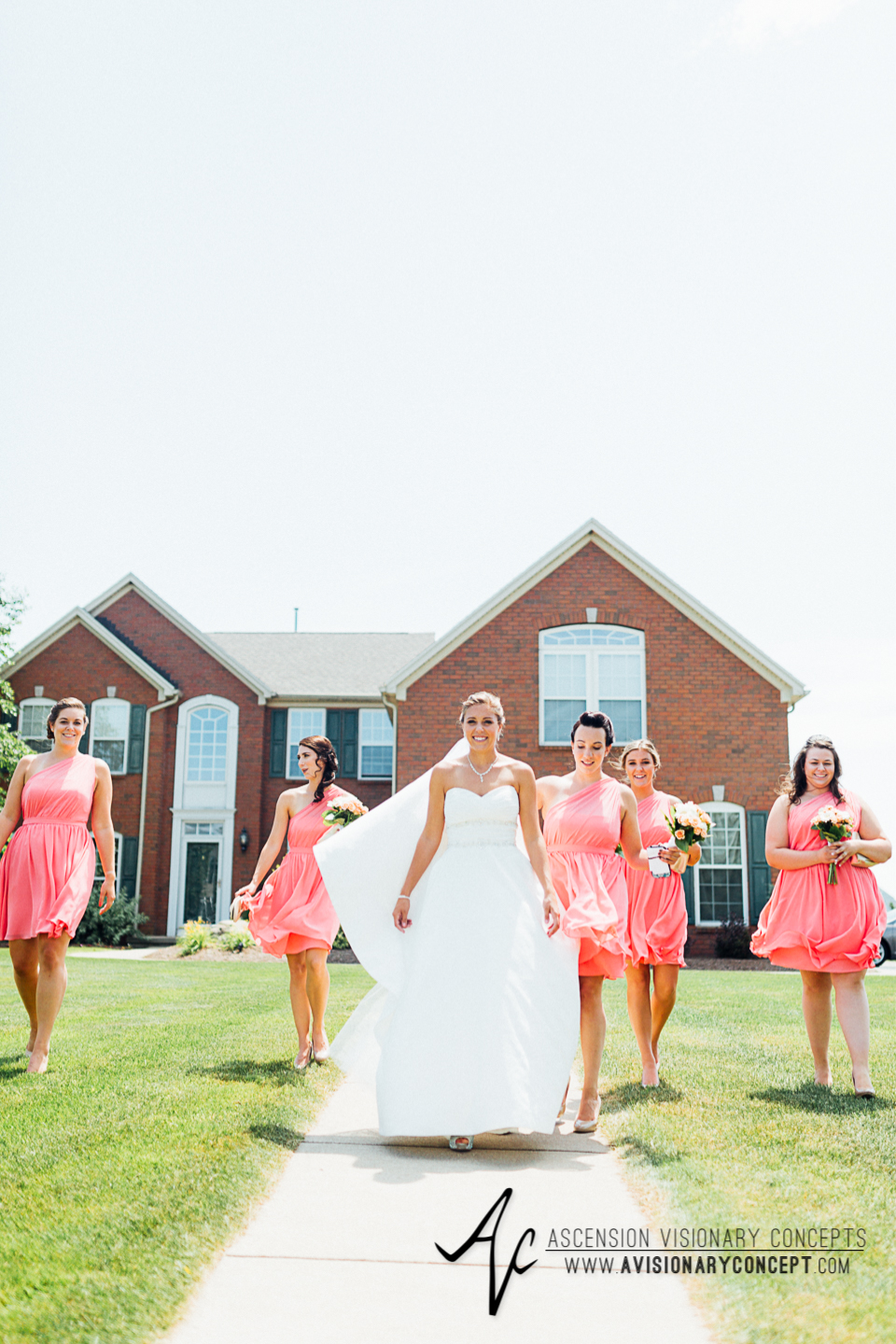 Buffalo Wedding Photography Orchard Park Country Club 023 - Bride and Bridesmaids Alfred Angelo Pink One-Shoulder Dresses White and Pink Rose Bouquet.jpg