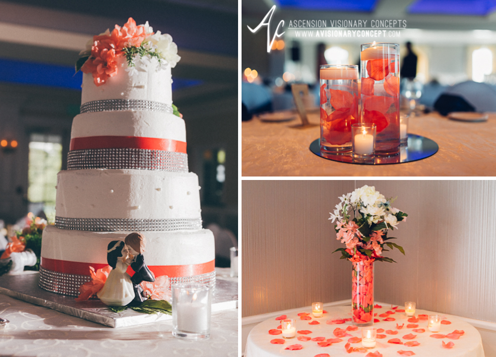 Buffalo Wedding Photography Orchard Park Country Club 051 - Reception Details Wedding Cake Pink Ribbon Floating Candle Centerpieces.jpg