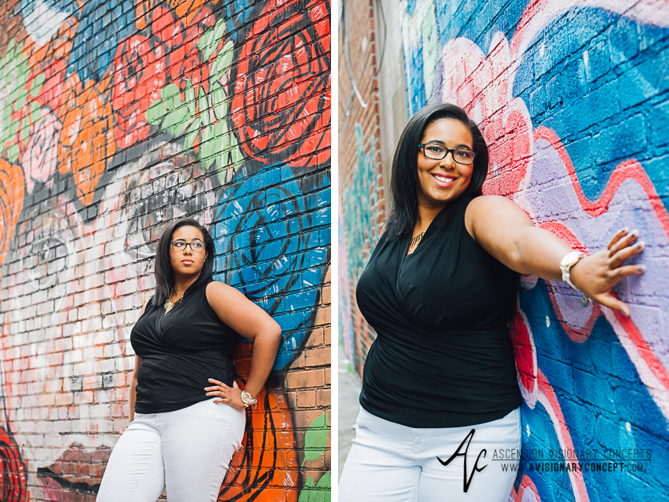 Buffalo Senior Photography 09 - Class of 2015 Summer Photography Downtown Buffalo Graffiti Wall Photography African American Teenage Girl.jpg