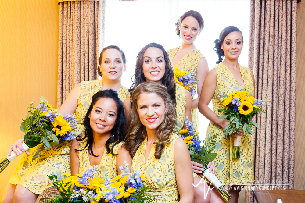 Buffalo Wedding Photography Spring Lake Winery 012 - Bridesmaids Sunflower Bouquets.jpg