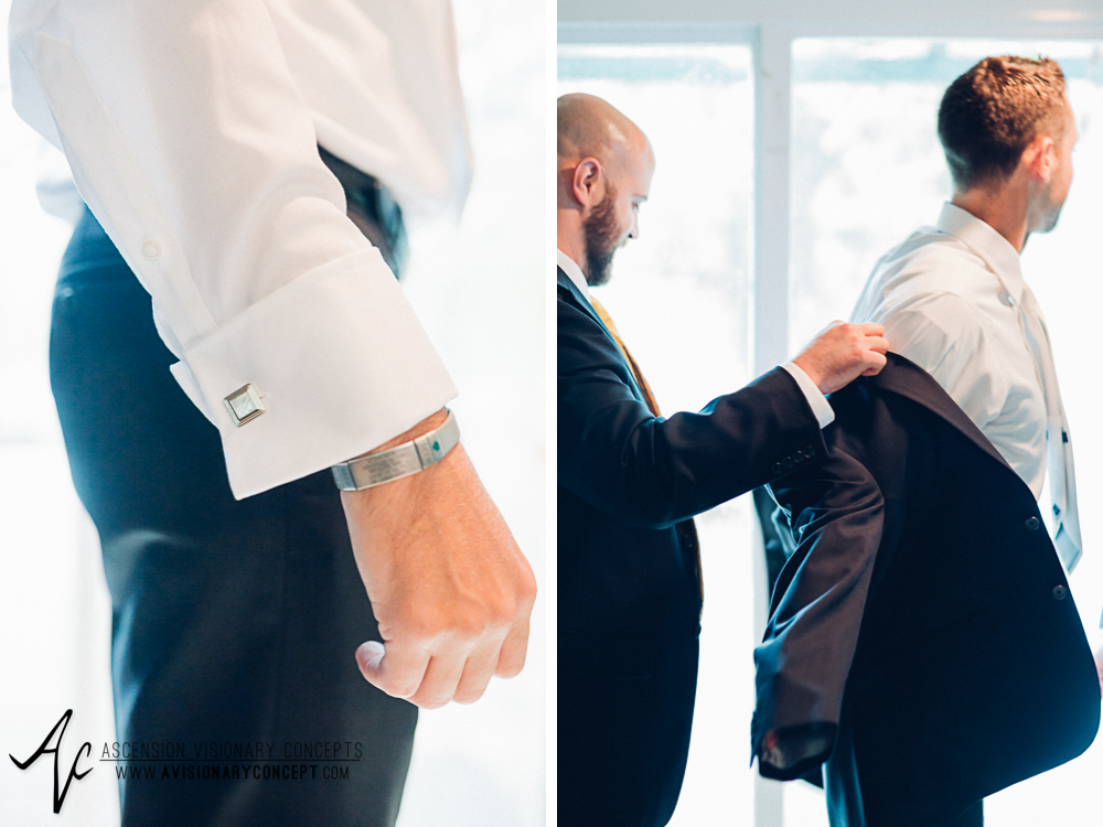 Buffalo Wedding Photography Spring Lake Winery 024 - Groom Getting Ready Brushed Steel Cufflinks Bracelet.jpg